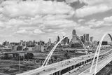Dallas, McDermont Bridge, black and white, b w, aerial, Omni Hotel, Reunion Tower, bank of america, fountain plaza, iconic, buildings, downtown
