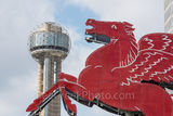 Dallas Pegasus and Reunion Tower, downtown, city, landmarks, daytime, Dallas stock photos, day