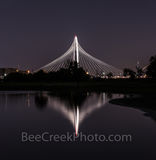 Dallas, reflection, Margaret Hunt Hill Bridge, pano, panorama, reflects water, Trinity river, night, dark, historical, rail, railroad, fortune 500, high tech