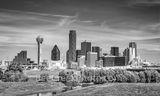 Dallas, skyline, trinity, b w, black and white, downtown, texas, dallas downtown, city of dallas, dallas skyline, trinity river, river