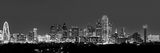 Dallas skyline, black and white, b w, Dallas, skylines, pics of texas, cityscape, panorama, panos, dark, night, iconic, skyscrapers, Margaret Hunt Hill Bridge, Reunion Tower, Bank of America, Omni