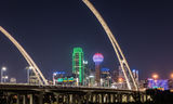 Dallas, skyline, Margaret McDermott Bridge, downtown, dark, steel bridge, suspended, arches, Trinity River,, IH30,  Trinity project, Santiago Calatrava, pedestrian, bike path, hike and bike trails