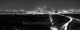 Dallas skyline pano, panorama, black and white, bw, BW,  dark, aerial, city, roads, downtown, Trinity river, Margaret Hunt Hill Bridge, Margaret McDermott bridge, skyscrapers, Bank of America, landmar