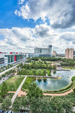 Houston, Discovery Green Park, downtown, city, George Brown Convention Center, Hilton, Toyota Center, vertical, tall