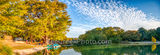 Garner State park, Frio river, river, paddle boats, bald cypress, blue sky, clouds, emerald green water, fall, pano, panorama, golden, burnt orange, rusty red, cypress