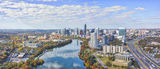 Austin skyline,  Fall Austin Skyline Pano, high rise, Lady Bird lake, city, downtown, buildings, shoreline, IH35, water, fall, aerial, drone, reflection, clouds, colorful fall trees, banks, panorama