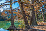 Garner State Park, Texas,, landscape, landscapes, Texas landscape, fall, frio river, rural landscape, blue water, clear water, blue green waters, fall cypress trees, colorful