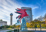 Flying Pegasus, Dallas, cityscape, cityscapes, landmark, Reunion Tower, flying horse, red, neon sign, Magnolia building, Omni Hotel, downtown, McKane, Matthews Southwest, artist, symbol, iconic,Magnol