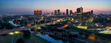 Fort Worth Skyline,Fort Worth Skyline Sunrise , skylines, cityscape, cityscapes, downtown, sunrise, panorama, pano, pink, seventh street bridge, 7th street bridge, Trinity river, Texas, city, purple l