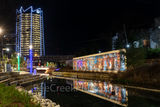 Frost Tower, San Pedro Creek, reflections, water,  San Antonio, creek, wall art, mural, mural, colorful, history, christmas lights, downtown, Texas, boardwalk