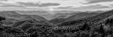 great smoky mountains, black and white, bw, sunset, pano. panorama, landscape, cherokee, north carolina, nc, blue ridge parkway, mountains, smokies, blue ridge, smoky national park, applachians, natur