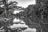 Guadalupe river, black and white, BW, Guadalupe State Park, cypress trees, rocks, flood, river rocks, water, river, texas hill country, texas, landscape, texas landscape