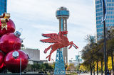Dallas, Magnolia Hotel, Magnolia Oil company., Pegasus, cityscape, cityscapes, flying horse, neon, oil derrick, ornaments, red, reunion tower