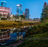 Houston, bagby to sabine, promenade, bridge, downtown, skyline, twilight, blue hour, dusk, pedestrian bridges, panorama, pano, america, cityscapes, buffalo bayou, water, reflections, stock bridge phot