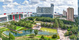 Houston, Discovery Green Park, George Brown Convention Center, water fountain, spray fountain, Kinder lake, Avenida Plaza, high rise, hotels, Hilton, downtown, city, cityscape, people