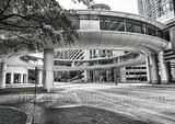 Houston, Chevron Complex, building, skybridge, skywalk, street scene, downtown, black and white, high rise, smith street, pedestrian walkway