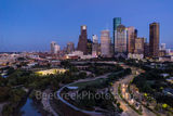 Houston skyline, Houston cityscape, aerial, twilight, blue hour, Allen Parkway, Buffalo Bayou, downtown, city, threater district, museums, theater art, opera, music events, tallest buildings, southern