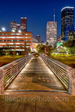 Houston, bagby to sabine, promenade, bridge, downtown, skyline, twilight, blue hour, dusk, pedestrian bridges, america, cityscapes, buffalo bayou, water, reflections, houston stock