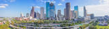 Houston, skyline, Houston skyline, day, blue sky, daytime, aerial, panorama, pano,  cityscape, clouds,  city, downtown, skyscrapers, buildings, high rise, IH45, museum district, art, Houston stock