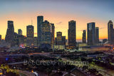 Houston cityscape, Sunrise, glow, Buffalo Bayou, skylines, Houston cityscape, cityscapes, aerial, downtown, reflections, pinks, oranges, sky, morning, city views, city, cities, trees, high rise, skysc