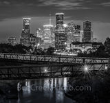 Houston skyline, Rosemont, pedestrian bridge, pano, panorama, vertical, buffalo Bayou, downtown,night, city, parks, cultural events, theater district, sports, music, events, performing arts, art group