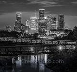 Houston Skyline Over Buffalo Bayou BW Pano