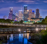 Houston skyline, Rosemont, pedestrian bridge, pano, panorama, buffalo Bayou, downtown,night, city, parks, cultural events, theater district, sports, music, events, performing arts, art groups, opera