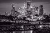 houston skyline, rosemont, pedestrian bridge, buffalo bayou, black and white, BW, downtown,night, city, parks, cultural events, theater district, sports, music, events, performing arts, art groups, op