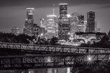 Houston Skyline with Rosemont Bridge in BW