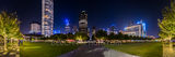 Dallas skyline, Klyde Warren Park skyline, night, panorama, pano, photo, dallas photos, trees lighted, art district, Woodall Rodgers freeway, cityscape, skyscrapers, Chase Tower, Hunt Oil Building, ch