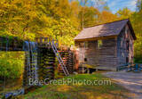 Mingus Mill, Smoky Mountains, gristmill, turbine, fall colors, autumn, waterfall, waterwheel, water, cascading, wooden flume,