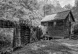 Mingus Mill, Smoky Mountains, gristmill, turbine, black and white, b w, autumn, waterfall, waterwheel, water, cascading, wooden flume,