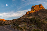 Moon Rise Over Casa Grande, Casa Grande, Big Bend, sunset, golden glow, moon, moon rise, window, Chisos Basin,  trails, Big Bend National Park, pre-sunset