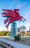 Dallas, Magnolia Hotel, Magnolia Oil company, Pegasus, cityscape, cityscapes, flying horse, neon, oil derrick, ornaments, red, reunion tower