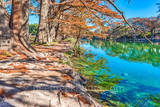 America, American, Frio River, Garner State Park, blue green waters, blue water, clear water, colorful, fall, fall cypress trees, images of Texas, landscape, landscapes, photos of Texas