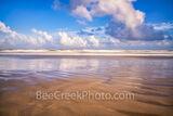 sand, beach, beaches, sandy, beach, moody, sky, clouds, blue sky, surf, long exposure, wet sand, texas coast, texas, ripples, mustang island, natural, nature, beach scene, ocean, coatal images, brown,