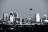 San Antonio skyline, downtown, city, Frost tower, cityscape, black and white, b w, san antonio, high rise, san antonio texas, city of san antonio