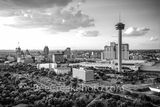 San antonio, downtown, aerial, tower of americas, tower life building, drury, compass bank, grand hyatt, convention center, dusk, black and white, b w,