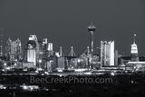 San Antonio Skyline, black and white, BW, San Antonio, Skyline, Frost Tower, Tower of America, Life Tower, Marriott, BBVA Compass Bank, city