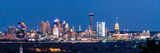 San Antonio Skyline, twilight, san antonio skyline pictures, san antonio skyline photos, images of san antonio skyline, pano, panorama, panoramic, San Antonio, Skyline, Frost Tower, Tower of America