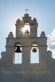 San Antonio, San Juan Mission, bells tower, vertical, tall, sun rays, sparkle, Missions, San Juan Mission Bell Tower, tourist, close up, Texas missions, landmarks, churches, chruch, catholic, prints