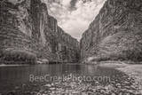 Santa Elena Canyon, Big bend national park, texas landscape, river rocks,  blue sky, nice clouds, canyons, mountains, Mexico, black and white, BW
