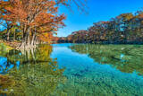 America, American, Frio River, Garner State Park, blue green waters, blue water, colorful, cypress trees, emerald, fall, fall colors, fall cypress trees, fall trees, images of Texas, landscape