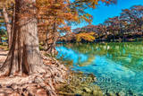 Garner State Park landscape - America, American, Frio River, Garner State Park, Old Baldy, blue green waters, blue water, clear water, colorful, cypress trees, fall, fall landscapes, garner, images of