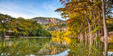 Garner State Park, Frio River, autumn, bald cypress, texas hill country, fall, old baldy, river, water, reflections, golden, rusty, cypress, hill country, pano, panorama