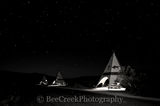 Big Bend State Park, teepees, picnic area, black and white, bw, dark skies, night, stars, usa