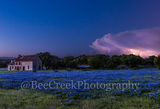 bluebonnets, blue bonnets, bluebonnet house, Marble falls, lightning strike, storm clouds, stormy, old farm house, Texas hill country., hill country, wildflowers, spring, storm cloud