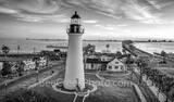 Sunrise at Port Isabel Lighthouse BW