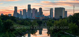 Houston, Sunrise, Buffalo Bayou skyline, buffalo bayou, pano, panorama, skyline, skylines, cityscape, cityscapes, downtown, water, reflections, pinks, oranges, sky, morning, city views, city