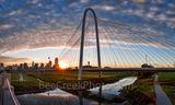 Dallas, sunrise, sun burst, morning, Margaret Hunt Hill Bridge, skyline, cityscape, clouds, color, pink, orange, iconic, bridge, 201, cities, city, panorama, pano